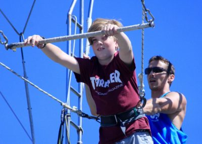 Child on the flying trapeze at Circus Arts Sydney