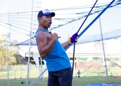 Izzy pulling lines for Flying Trapeze class